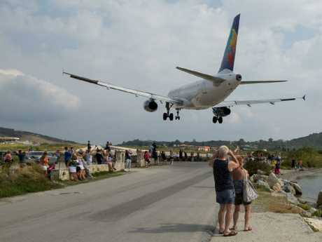 Skiathos Airport is popular with plane-spotters. Picture: Wikimedia Commons/Paul Lakin