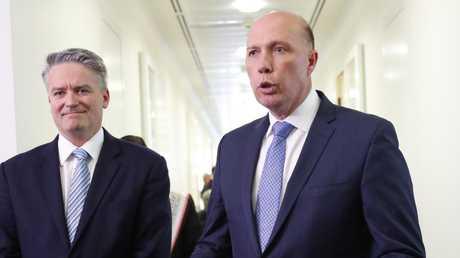 Peter Dutton was backed by Mathias Cormann. Picture: David Gray/AP