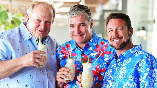 Katter's Australian Party MPs Shane Knuth, Robbie Katter and Nick Dametto promoting the removal of plastic straws while discussing vegetation laws and regional electricity costs. Picture: Zak Simmonds