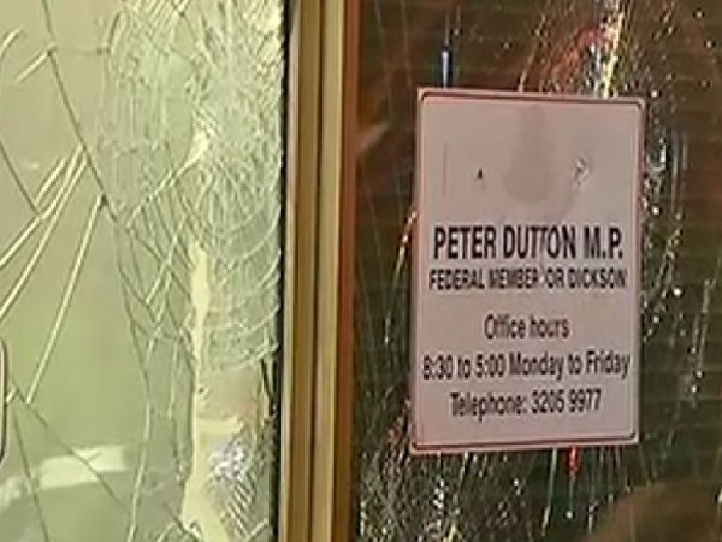 Peter Dutton's Strathpine office has been vandalised overnight. Picture: 9 News Brisbane