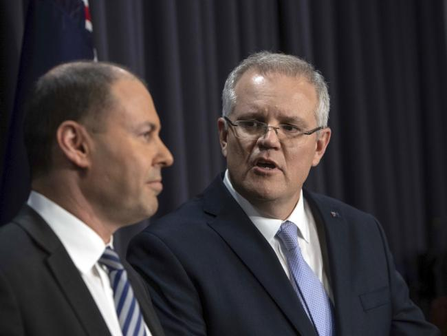 Prime Minister Scott Morrison and Deputy Leader Josh Frydenberg during their first press conference in their new roles. Picture: AP/Andrew Taylor