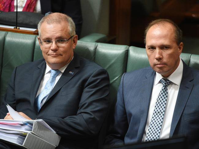 How times are changing … Scott Morrison and Peter Dutton during Question Time. Picture: AAP