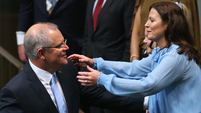 Treasurer Scott Morrison, pictured with his wife Jenny, could be Australia's next Prime Minister. Picture: Kym Smith