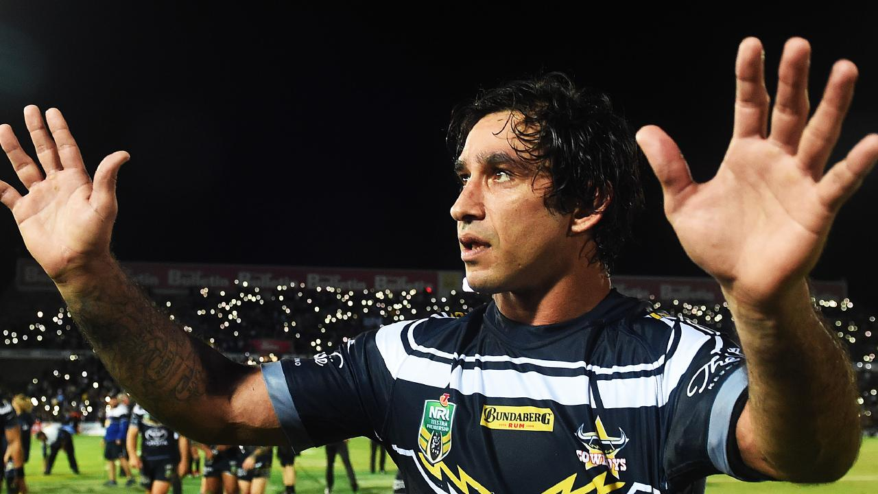 Johnathan Thurston does a lap of honour after his last NRL game in Townsville. Picture: Zak Simmonds