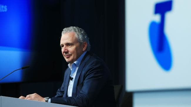 Telstra CEO Andy Penn delivers the company's full year results at their HQ in Melbourne. Picture: Aaron Franci