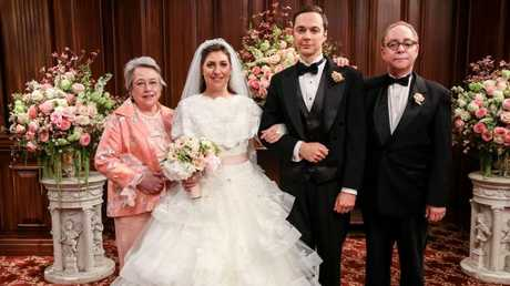 Kathy Bates, Mayim Bialik, Jim Parsons and comedian Teller in the 11th season finale of The Big Bang Theory. Picture: Michael Yarish/CBS