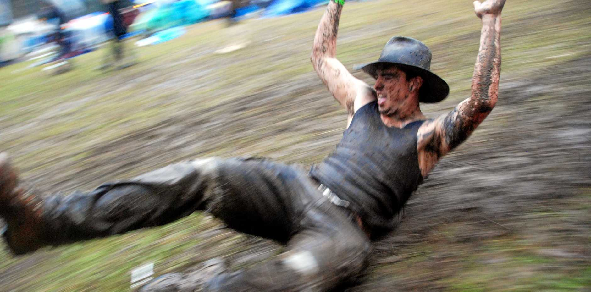 Dom Skellorn flies down the hill in the rain at a previous Muster.