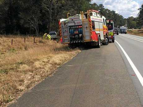 A car sustained major damage when it veered off the Bruce Highway and crashed into trees just north of Gympie this morning.