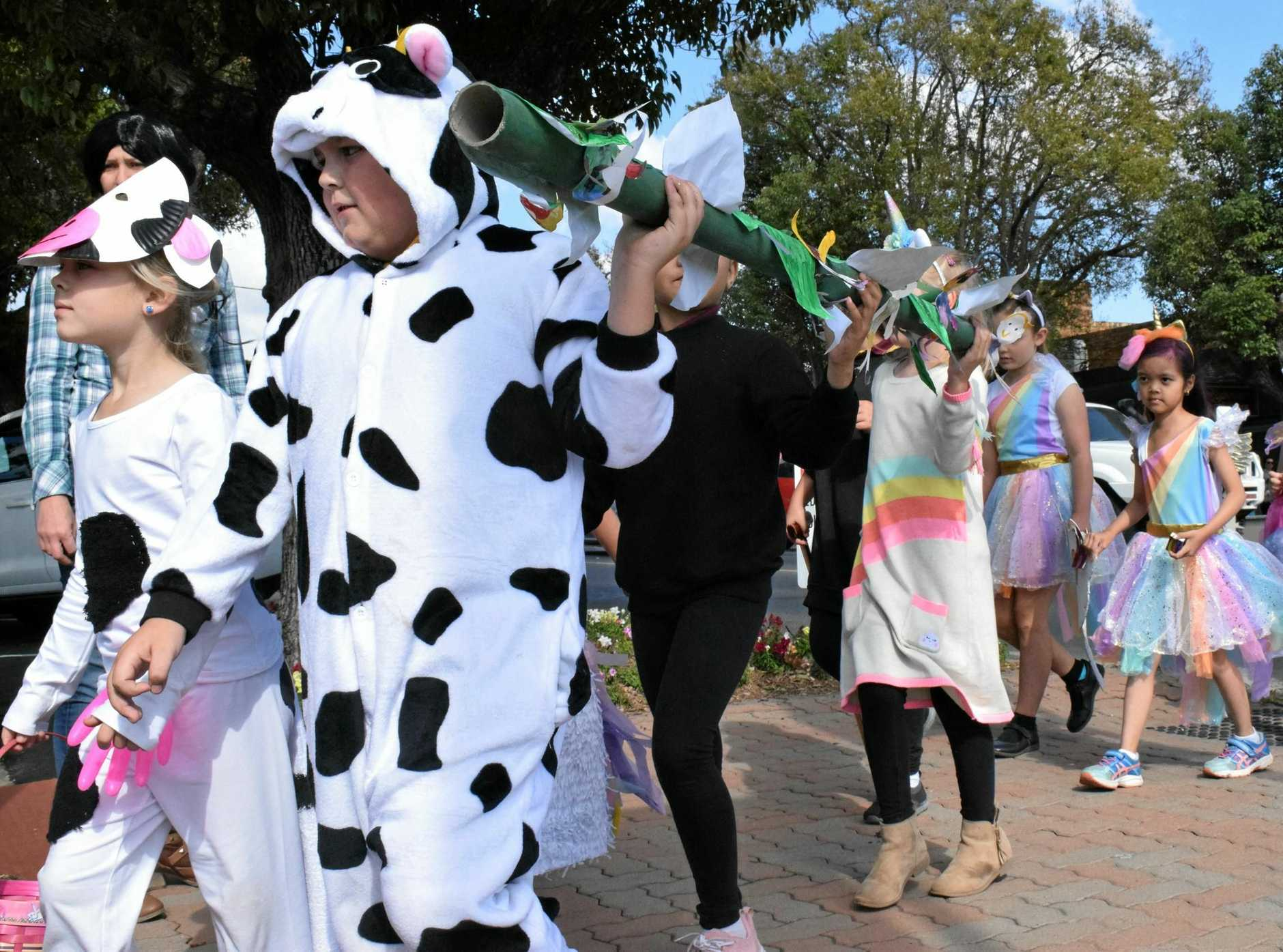 IMAGINATION: Chinchilla State School students take to the streets to show off their Book Week costumes. Friday, August 24, 2018.