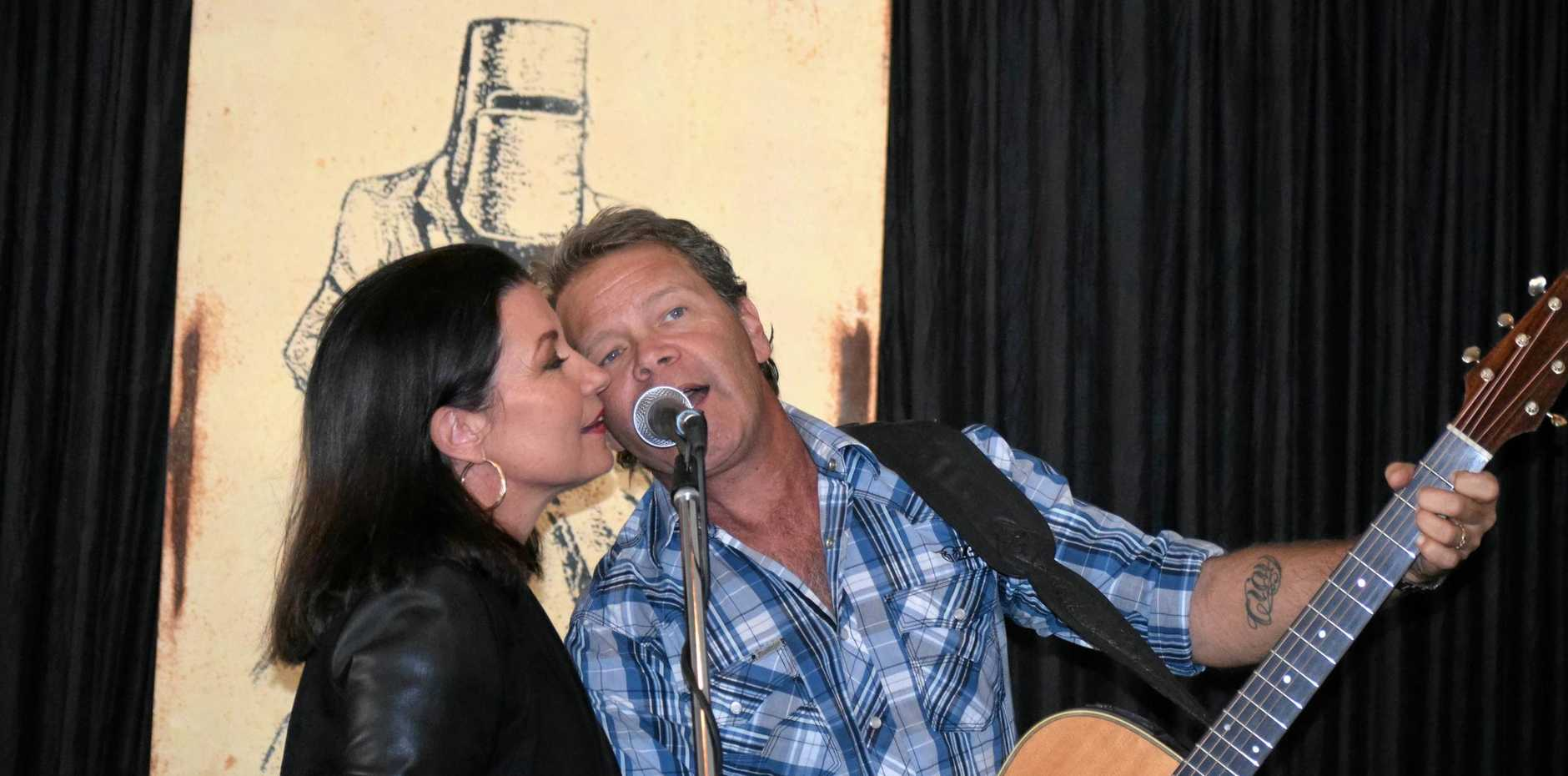Muster Ambassador Troy Cassar-Daley performs with wife Laurel at the Gympie Muster 2018 Partner Thank You Function.