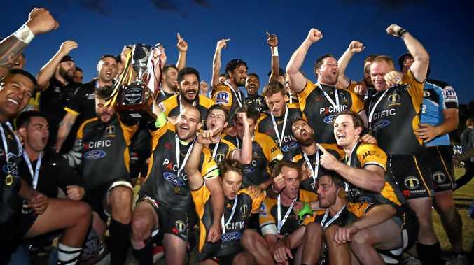 YOU BEAUTY: Caloundra celebrates winning their maiden A-grade premiership on the Sunshine Coast.