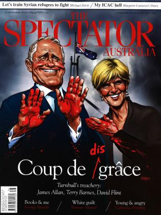 An illustration of PM Malcolm Turnbull and Foreign Minister Julie Bishop on the cover of 'The Spectator Australia in 2015.