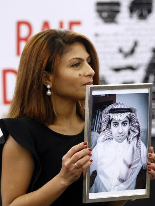 Ensaf Haidar, wife of the jailed Saudi Arabian blogger Raif Badawi, accepts an award on her husband's behalf in 2015. Picture: /Christian Lutz/AP