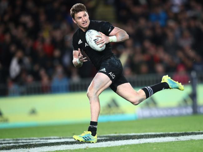 Beauden Barrett scored four tries, but he wouldn't get a game for the Wallabies if Hooper was picking the team. Picture: Getty