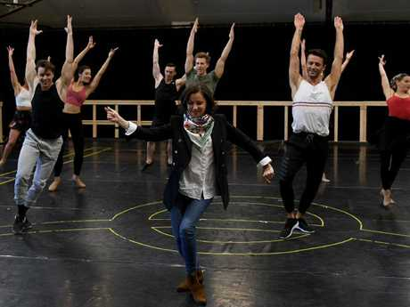 Australian singer Tina Arena dances and sings at Evita rehearsals. Picture: AAP Image/Dan Himbrechts