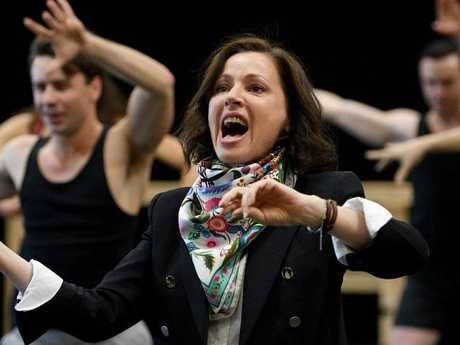 Tina Arena rehearsing for her role in Evita. Picture: AAP Image/Dan Himbrechts