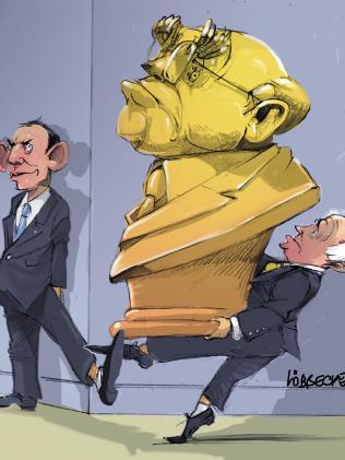 Eric Lobbecke illustration of Turnbull and Abbott.
