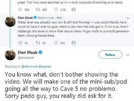 "In July, after unsuccessfully inserting himself into the Thailand cave rescue attempt, Musk took to Twitter and called one hero diver ""a pedo"". Picture: Twitter"