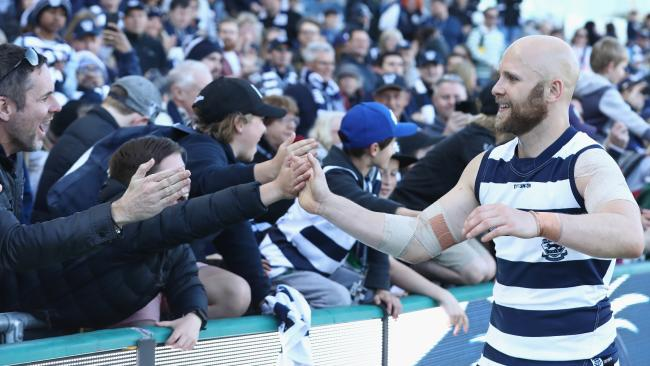 Ablett enjoys a win with Cats fans. Picture: Getty Images
