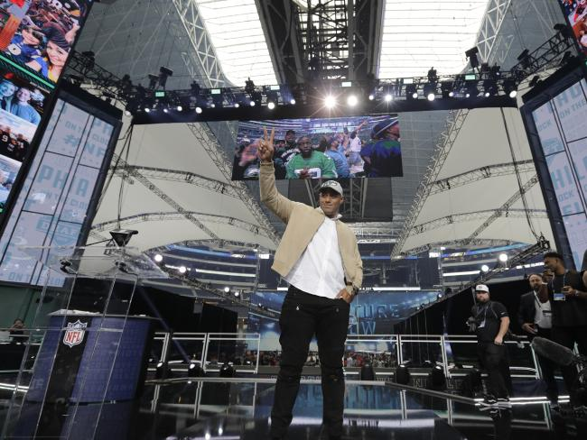 Jordan Mailata appears onstage after being selected by the Philadelphia Eagles in the NFL Draft.