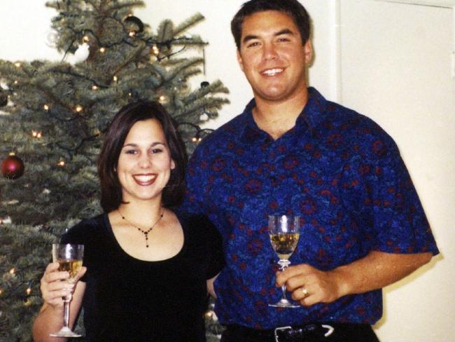 Laci and Scott Peterson pictured in December 2002 — just days before Scott murdered her and their unborn son Connor in Modesto, California. Picture: NewsCorp