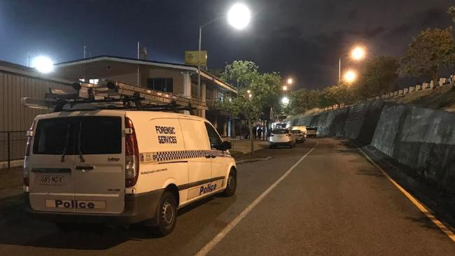 The forensic unit on scene where a man was fatally stabbed at Rocklea. Picture: Jacob Miley