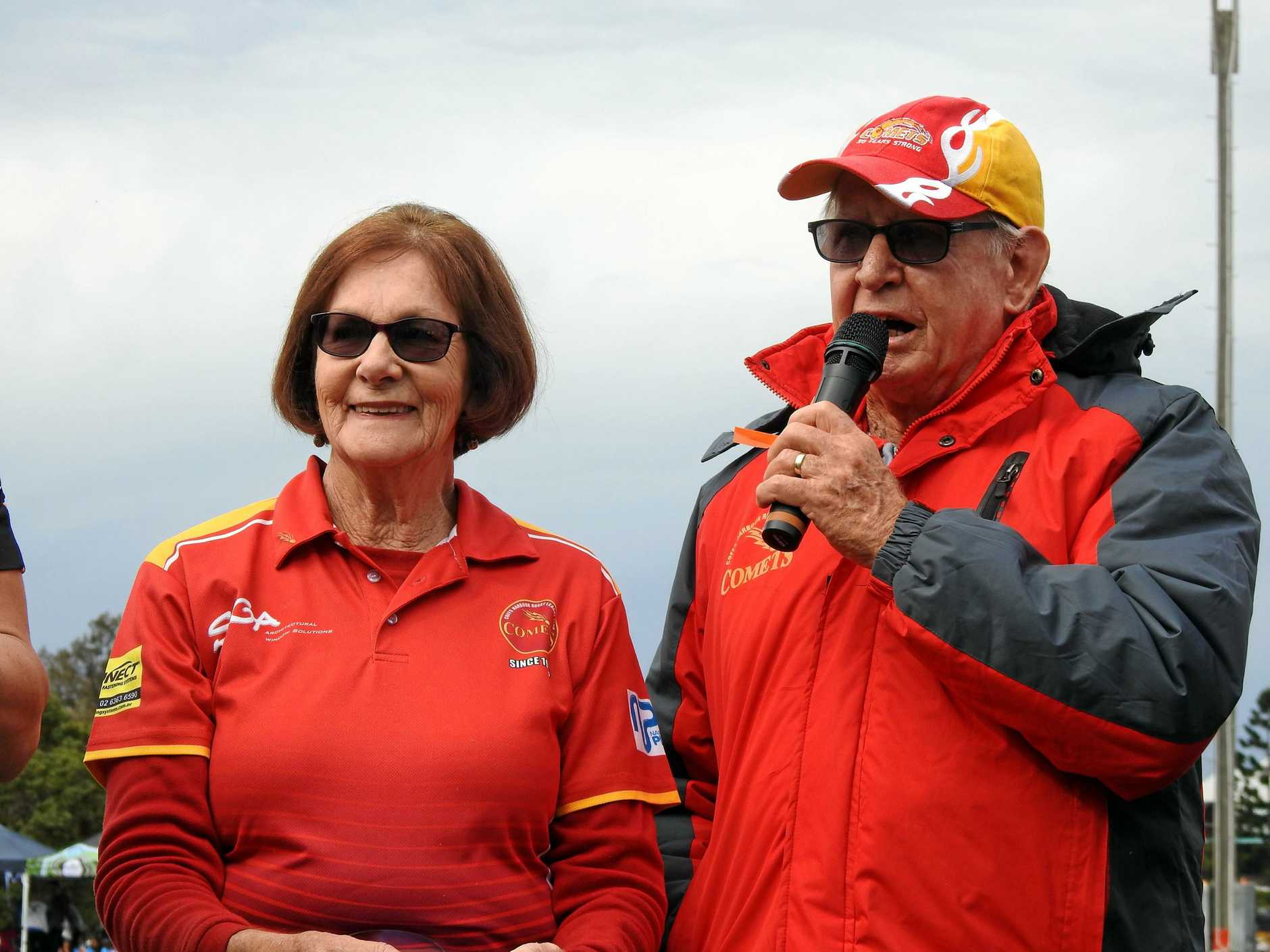 HUMBLE WORDS: Lorna and Max Dawes receive the 2018 NRL Community Award for Volunteers Of The Year.