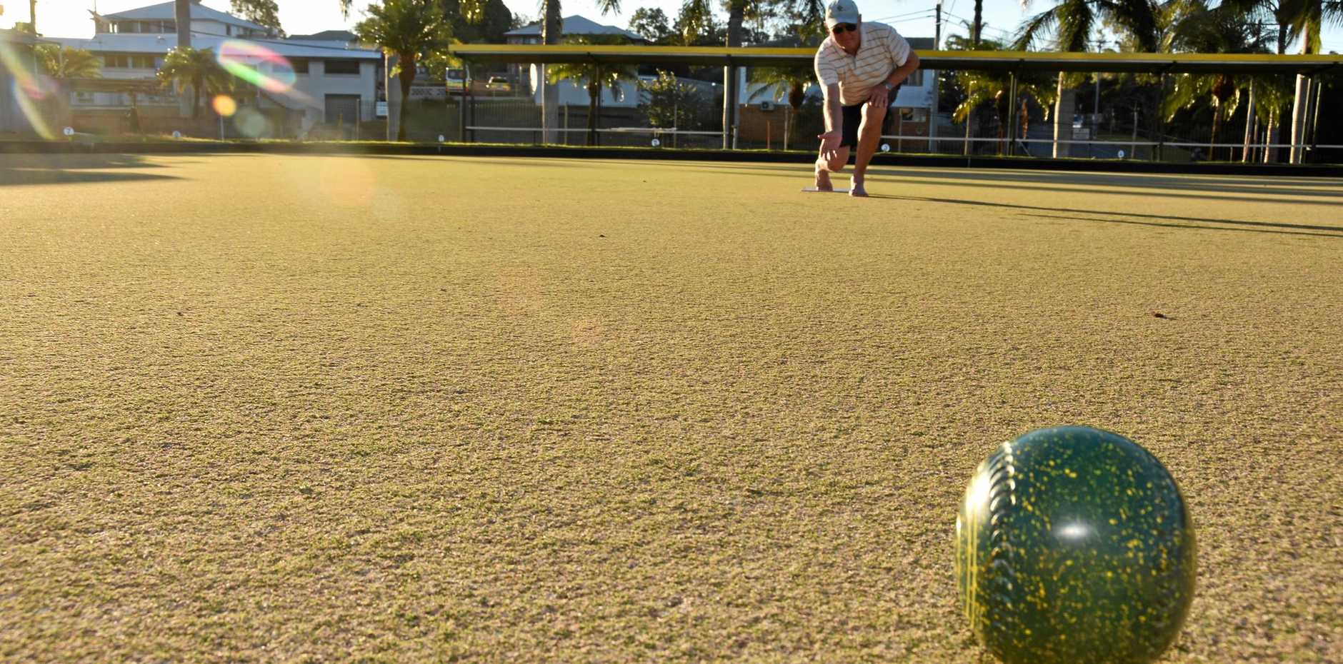 Dave Olsen having a bowl at the Gladstone Bowls Club.