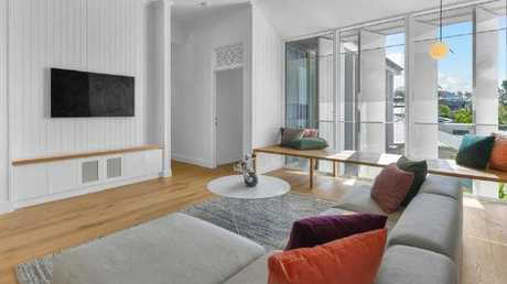 The living room in the home at 29 Rockbourne Tce, Paddington, after the renovation.