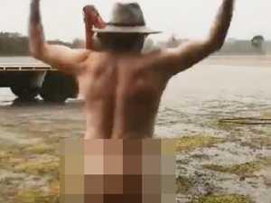 'Someone's excited': Farmer's cheeky rain dance