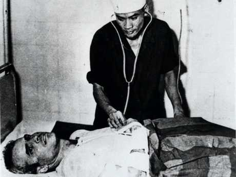 John McCain is treated in a Hanoi, Vietnam, hospital as a prisoner of war in 1967. Picture: AP