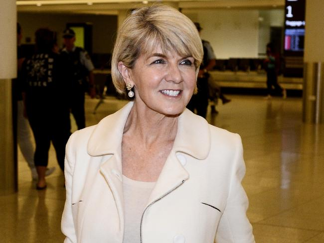 Julie Bishop arrives at Perth Airport. Picture: Richard Hatherly