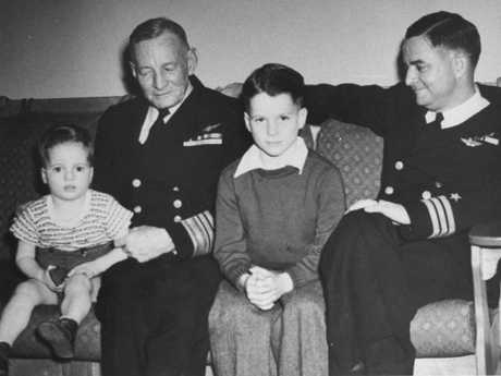 John S. McCain III (C) as a young boy with his grandfather Vice Admiral John S. McCain Sr. (1884 — 1945) (L) and father Commander (late admiral) John S. McCain Jr. (1911 — 1981) in family photo from the 1940s. Picture: Terry Ashe/The LIFE Images Collection/Getty