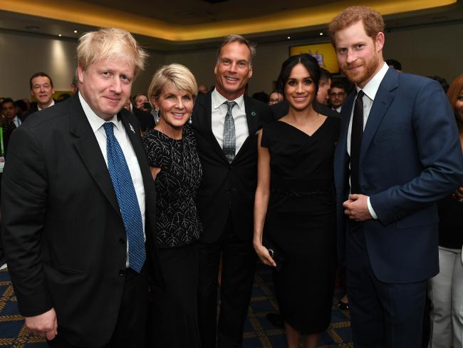 British Foreign Secretary Boris Johnson (left) Meghan Markle and Prince Harry with Bishop and David Panton at CHOGM in April. Picture: Andrew Parsons.