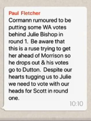 WhatsApp messages leaked to Insiders shows votes were directed away from Julie Bishop. Picture: ABC