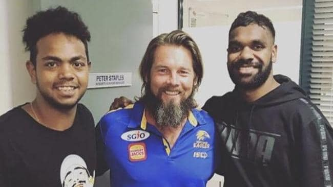 Ben Cousins, above with Eagles players Willie Rioli and Liam Ryan, was getting his life back on track. Picture: Instagram.