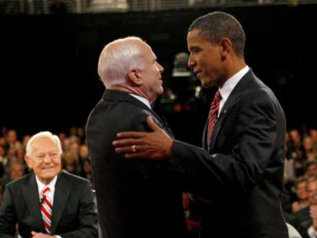 Former Republican US presidential candidate Senator John McCain and his Democratic counterpart Senator Barack Obama before the start of their third presidential debate in 2008. Picture: AP