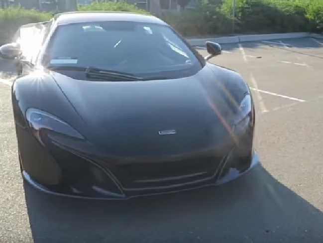 The luxury McLaren sports car Heitmann was driving the wrong way down a busy Californian interstate. Picture: YouTube