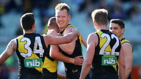 Riewoldt booted five goals against the Bulldogs. Picture: Michael Klein