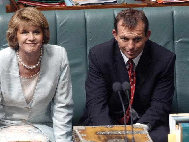 Bishop in 2003 in the comparively soft portfolio of Minister for Ageing with then Health Minister Tony Abbott. Picture: Alan Porritt.