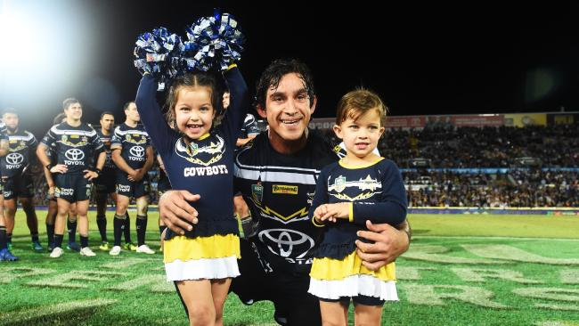 North Queensland Cowboys v Parramatta Eels from 1300 Smiles Stadium, Townsville. Cowboys Johnathan Thurston with daughters Frankie and Charlie. Picture: Zak Simmonds
