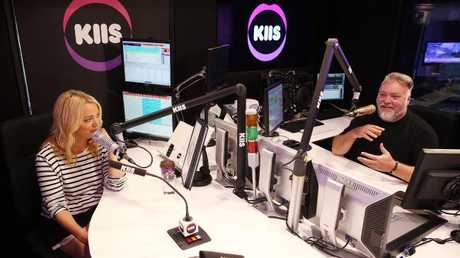 Kyle Sandilands and Jackie O pictured inside the KIIS FM studios.