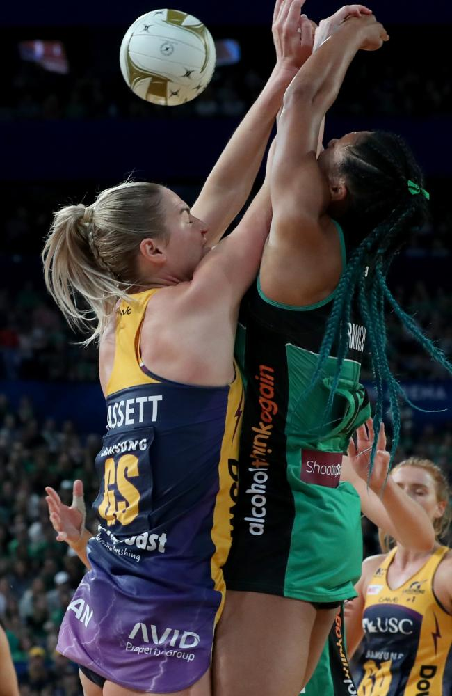 Caitlin Bassett and Stacey Francis clash heavily. Picture: AAP