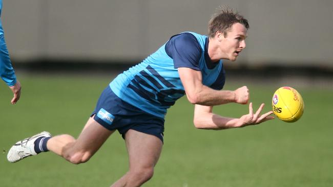 Lincoln McCarthy at Geelong training. Picture: Glenn Ferguson