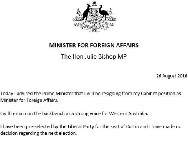 Julie Bishop resigns as Foreign Minister of Australia in a statement she issued on August 26.