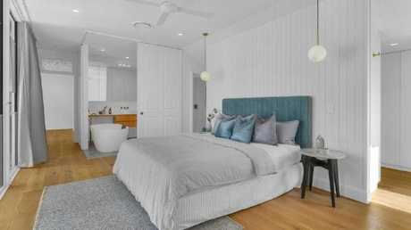 One of the bedrooms in the property at 29 Rockbourne Tce, Paddington, after the renovation.