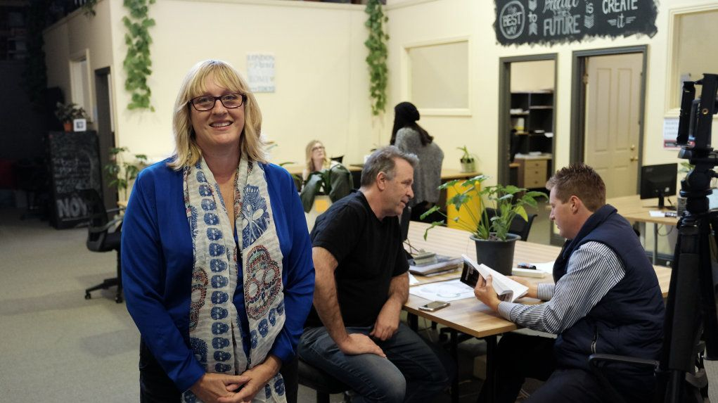 Paula Brand. Canvas Coworking president David Masefield and Toowoomba.com.au's Brendan Goleby in the background.