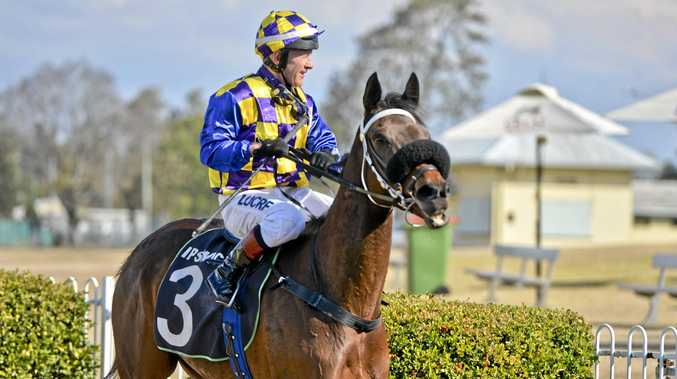 Jockey Jeff Lloyd after his winning ride aboard Our Jamacia in the Sirromet Handicap at Ipswich racetrack.