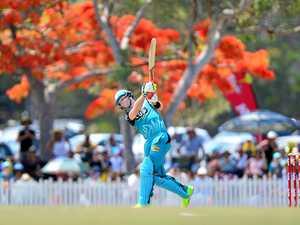 Cricket pro swings by Harrup Park