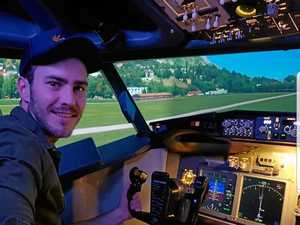 First-time pilot tests out Boeing 737 Jet simulator